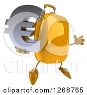 Clipart Of A 3d Yellow Suitcase Character Jumping And Holding A Euro Symbol Royalty Free Illustration