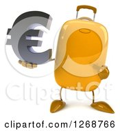 Clipart Of A 3d Yellow Suitcase Character Holding And Pointing To A Euro Symbol Royalty Free Illustration