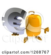 Clipart Of A 3d Yellow Suitcase Character Holding A Euro Symbol And Thumb Down Royalty Free Illustration