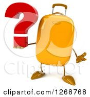 Clipart Of A 3d Yellow Suitcase Character Holding A Question Mark And Shrugging Royalty Free Illustration
