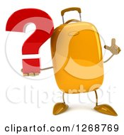 Clipart Of A 3d Yellow Suitcase Character Holding Up A Finger And A Question Mark Royalty Free Illustration