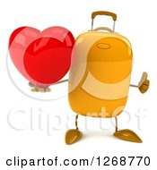 Clipart Of A 3d Yellow Suitcase Character Holding A Heart And Thumb Up Royalty Free Illustration