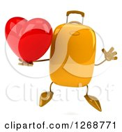 Clipart Of A 3d Yellow Suitcase Character Holding A Heart And Jumping Royalty Free Illustration