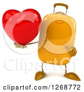 Clipart Of A 3d Yellow Suitcase Character Holding And Pointing To A Heart Royalty Free Illustration