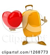 Clipart Of A 3d Yellow Suitcase Character Holding Up A Finger And A Heart Royalty Free Illustration