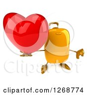 Clipart Of A 3d Yellow Suitcase Character Holding A Heart And A Thumb Down Royalty Free Illustration