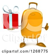 Clipart Of A 3d Yellow Suitcase Character Holding A Gift And Thumb Up Royalty Free Illustration