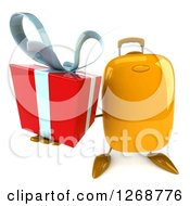 Clipart Of A 3d Yellow Suitcase Character Holding Up A Gift Royalty Free Illustration