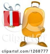 Clipart Of A 3d Yellow Suitcase Character Holding And Pointing To A Gift Royalty Free Illustration