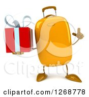 Clipart Of A 3d Yellow Suitcase Character Holding Up A Finger And A Gift Royalty Free Illustration