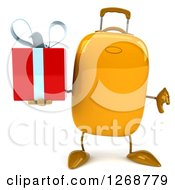 Clipart Of A 3d Yellow Suitcase Character Holding A Gift And Thumb Down Royalty Free Illustration