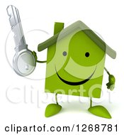 Clipart Of A 3d Happy Green House Character Holding A Key Royalty Free Illustration