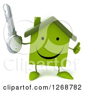 Clipart Of A 3d Happy Green House Character Holding A Key And Thumb Up Royalty Free Illustration