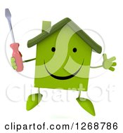 Clipart Of A 3d Happy Green House Character Holding A Screwdriver Royalty Free Illustration