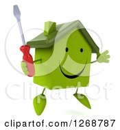 Clipart Of A 3d Happy Green House Character Holding A Screwdriver And Jumping Royalty Free Illustration