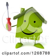 Clipart Of A 3d Happy Green House Character Holding And Pointing To A Screwdriver Royalty Free Illustration