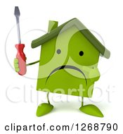 Clipart Of A 3d Unhappy Green House Character Holding And Pointing To A Screwdriver Royalty Free Illustration