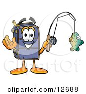 Clipart Picture Of A Suitcase Cartoon Character Holding A Fish On A Fishing Pole