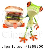 Clipart Of A 3d Argie Frog Holding Out A Double Cheeseburger Royalty Free Illustration by Julos