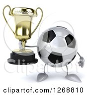 Clipart Of A 3d Soccer Ball Character Holding A Trophy Royalty Free Illustration by Julos