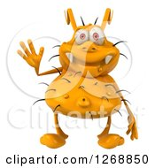 Clipart Of A 3d Yellow Germ Waving Royalty Free Illustration