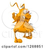 Clipart Of A 3d Yellow Germ Facing Right And Waving Royalty Free Illustration