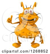Clipart Of A 3d Yellow Germ Giving A Thumb Up Royalty Free Illustration by Julos