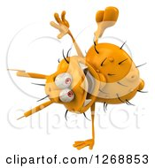 Clipart Of A 3d Happy Yellow Germ Cartwheeling Royalty Free Illustration