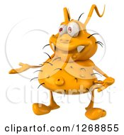 Clipart Of A 3d Yellow Germ Presenting Royalty Free Illustration