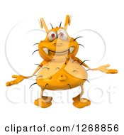 Clipart Of A 3d Yellow Germ Shrugging Royalty Free Illustration