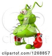 Clipart Of A 3d Green Germ Wearing Boxing Gloves And Facing Left Royalty Free Illustration
