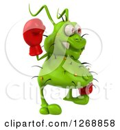 Clipart Of A 3d Green Germ Wearing Boxing Gloves Waving And Facing Right Royalty Free Illustration