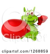 Clipart Of A 3d Green Germ Wearing Boxing Gloves And Punching Royalty Free Illustration by Julos