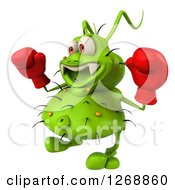 Clipart Of A 3d Green Germ Wearing Boxing Gloves And Facing To The Left Royalty Free Illustration