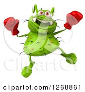 Clipart Of A 3d Green Germ Wearing Boxing Gloves And Jumping Royalty Free Illustration