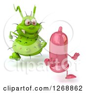 Clipart Of A 3d Green Germ Chasing A Pink Condom Royalty Free Illustration by Julos