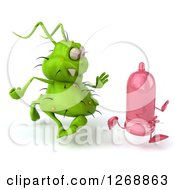 Clipart Of A 3d Green Germ Chasing A Pink Condom 2 Royalty Free Illustration by Julos