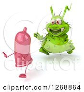 Clipart Of A 3d Green Germ Chasing A Pink Condom 3 Royalty Free Illustration by Julos