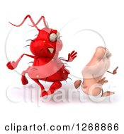 Clipart Of A 3d Red Germ Chasing A Foot 2 Royalty Free Illustration
