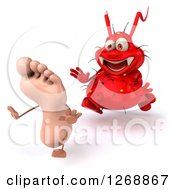 Clipart Of A 3d Red Germ Chasing A Foot 3 Royalty Free Illustration