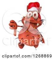 Clipart Of A 3d Red Christmas Germ Wearing A Santa Hat And Holding A Thumb Down Royalty Free Illustration