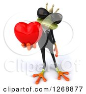 Clipart Of A 3d Green Business Springer Frog Prince Wearing Sunglasses And Holding Out A Heart Royalty Free Illustration