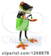 Clipart Of A 3d Green Business Springer Frog Wearing Sunglasses And Dripping Biofuel Royalty Free Illustration