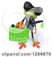 Clipart Of A 3d Green Business Springer Frog Wearing Sunglasses And Dripping Biofuel 2 Royalty Free Illustration