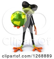 Clipart Of A 3d Green Business Springer Frog Wearing Sunglasses And Holding Out Planet Earth Royalty Free Illustration