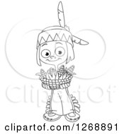 Clipart Of A Black And White Happy Cute Native American Indian Boy Holding A Basket Of Thanksgiving Corn Royalty Free Vector Illustration
