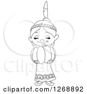 Clipart Of A Black And White Happy Cute Native American Indian Girl Holding A Thanksgiving Pumpkin Royalty Free Vector Illustration
