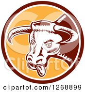Clipart Of A Retro Woodcut Longhorn Bull With Its Tongue Hanging Out In A Brown White And Yellow Circle Royalty Free Vector Illustration