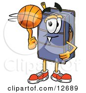 Suitcase Cartoon Character Spinning A Basketball On His Finger