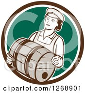 Clipart Of A Retro Female Bartender Carrying A Beer Keg Barrel In A Brown White And Green Circle Royalty Free Vector Illustration